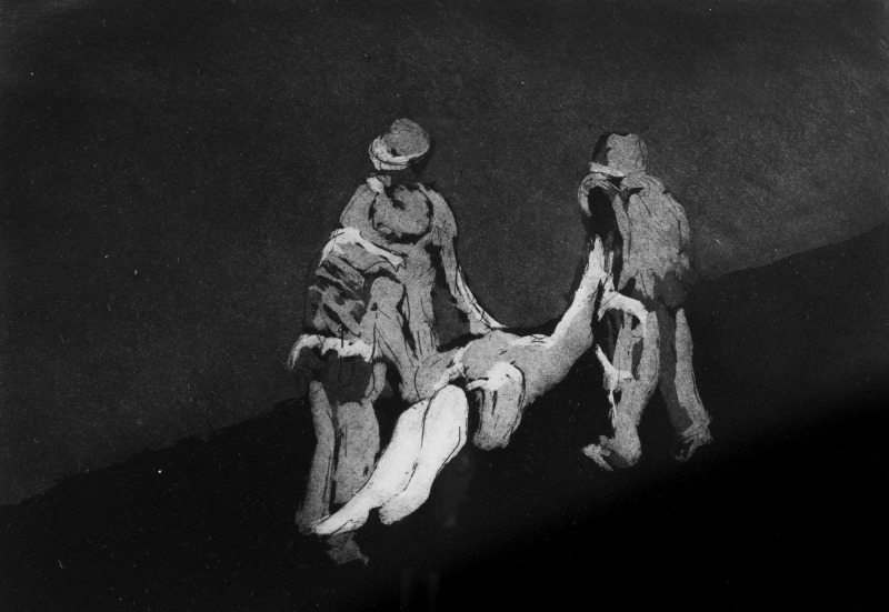 Description: Three Soldiers struggle with a casualty moving to safety after a bomb ripped through the market the drawing merges together one unit moving towards hope or maybe another device.